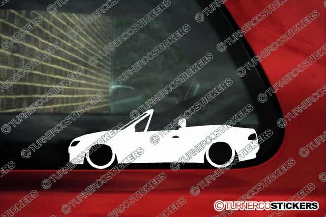 2x LOW Peugeot 306 cabrio convertible lowered car outline stickers